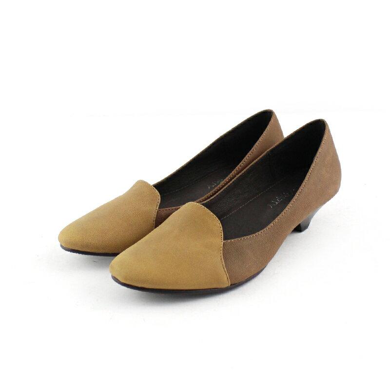 【P2-17123L】拚色氣質真皮低跟鞋_Shoes Party 3