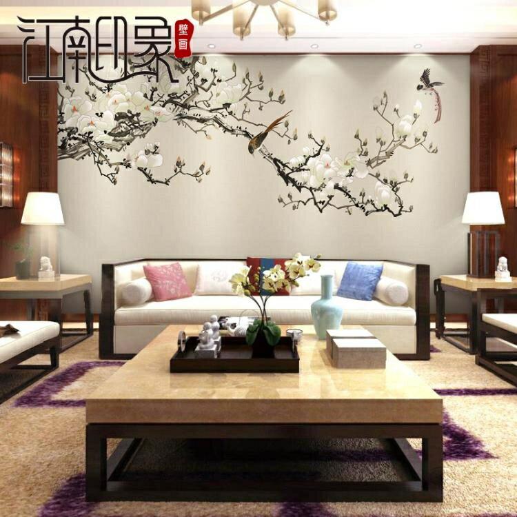 壁畫 客廳裝飾壁紙花鳥畫背景墻紙客廳影視墻布無縫