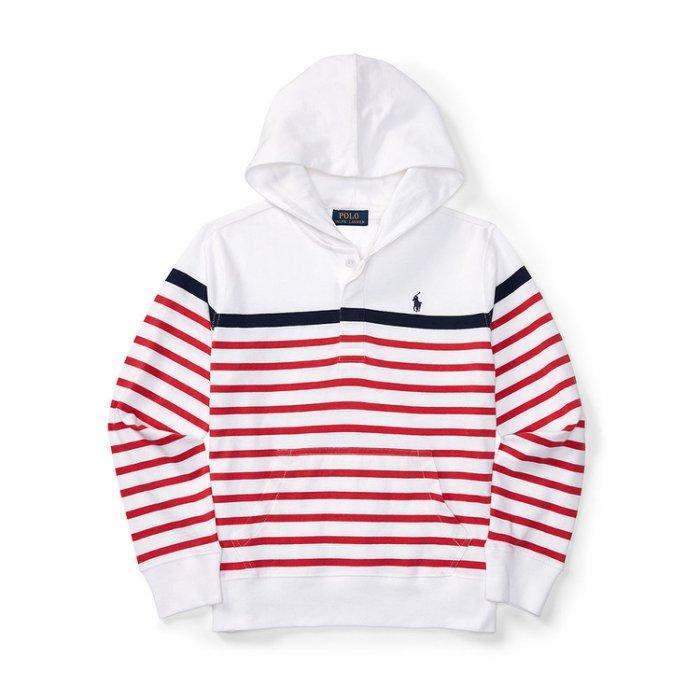 美國百分百【全新真品】Ralph Lauren RL 連帽 帽T T恤 長袖 小馬 POLO 紅藍 條紋 白色 XS S號 美國青年版 H873