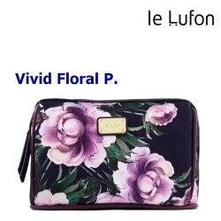 【le Lufon】 紫牡丹花卉印花拼接皮革 化妝包/手拿包/萬用包/多功能淑女隨身包-Vivid P (共6色)