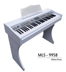 Jazzy 61鍵 M-9958 娛樂型電鋼琴,美型白色木紋質感+麥克風自彈自唱+MP3輸出,電子琴 手捲鋼琴
