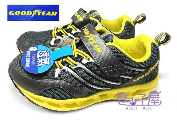 【巷子屋】GOODYEAR固特異 FLY飛行者系列 男童輕盈活氧透氣孔運動慢跑鞋 [48204] 灰黃 超值價$498