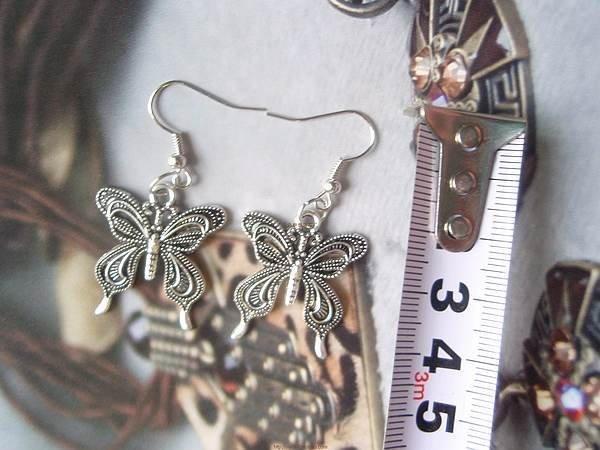 新款飾品 時尚複古古銀色精致蝴蝶耳環