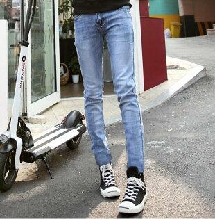 FINDSENSEZ1韓國時尚潮男修身簡約款藍色貓爪磨破小腳褲九分褲牛仔褲