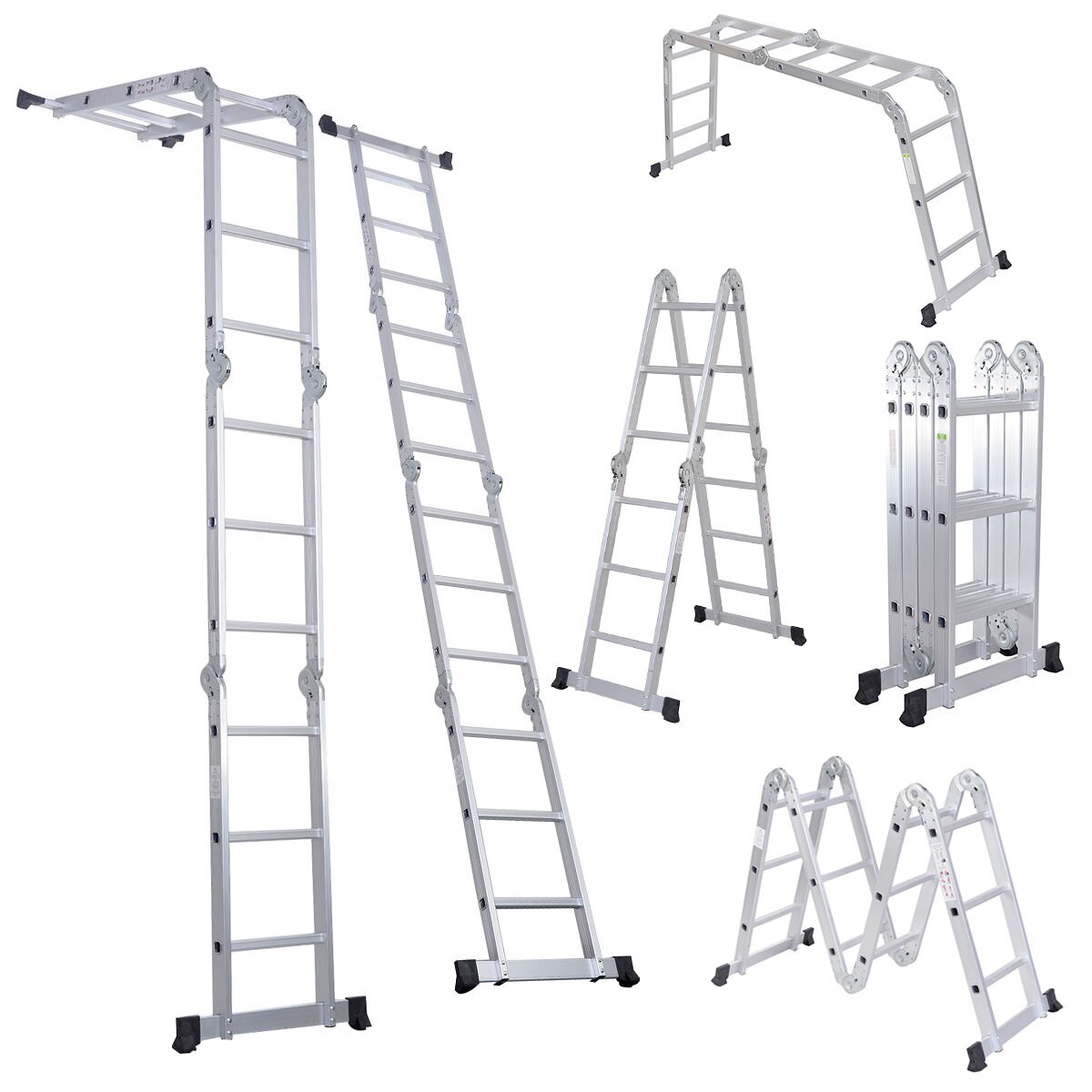 Costway 12.5-ft. Multi Purpose Aluminum Folding Scaffold Ladder