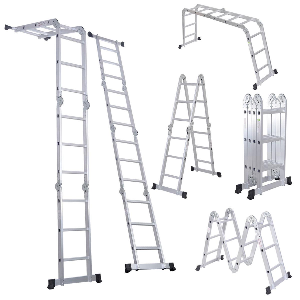 Costway 12.5-ft. Multi Purpose Aluminum Folding Scaffold Ladder