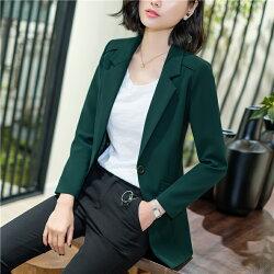 全家199免運  外套3折起 OL 墨綠色大V領韓系簡約率性西裝外套中長款