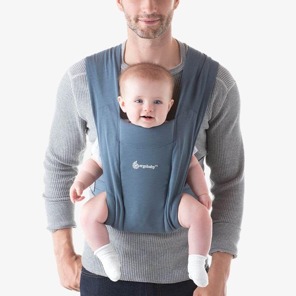 Ergobaby Embrace環抱二式初生嬰兒揹巾/揹帶-牛津藍