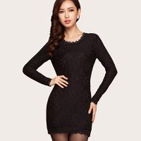 e-free【82A17】■時尚氣質保暖加絨蕾絲中長款上衣洋裝■(黑、駝-2色)F碼-E free-流行女裝推薦