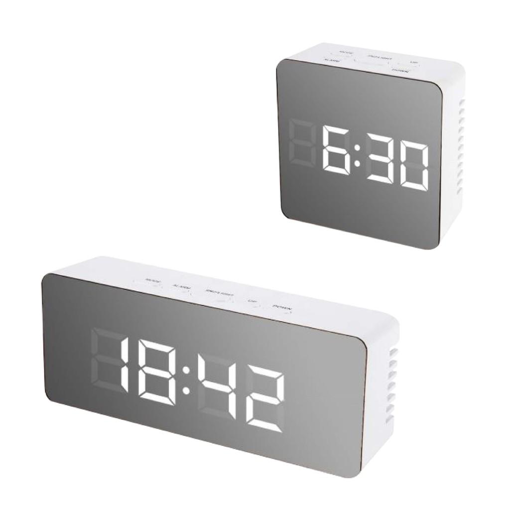 創意鏡面鬧鐘 多功能LED鐘錶化妝鏡 鬧鐘 電池 插電兩用 時鐘【BE444】
