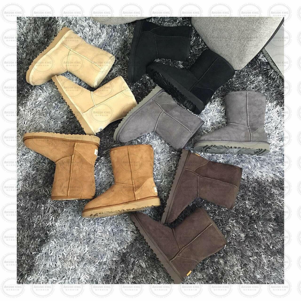 OUTLET正品代購 澳洲 UGG 經典女款羊皮毛一體雪靴 短靴 保暖 真皮羊皮毛 雪靴 短靴 黑色 2