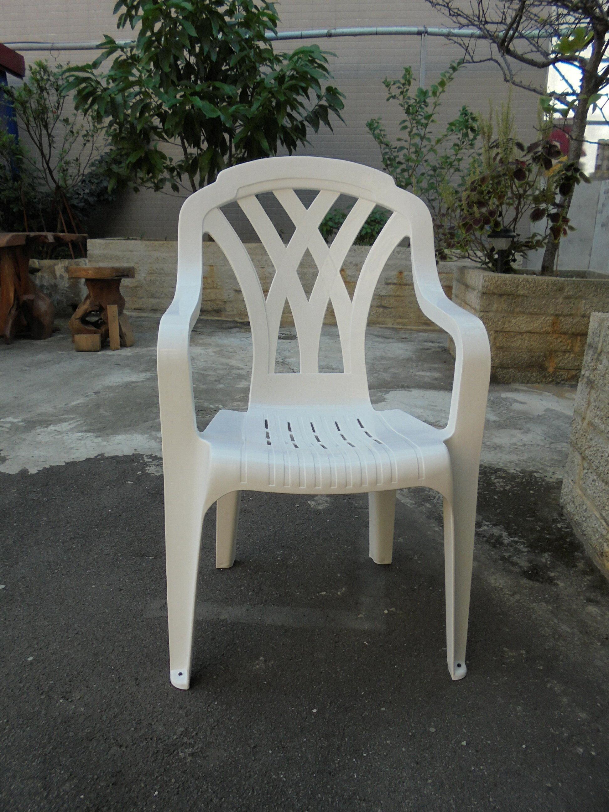 兄弟牌~白色塑膠格網椅(高背設計),物美價廉庭院休閒必備!! (2入裝)台灣製