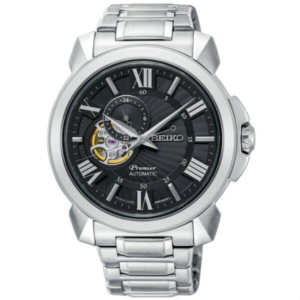 Seiko精工錶Premier4R39-00S0D(SSA371J1)紳士都會小秒針機械腕錶黑面43mm