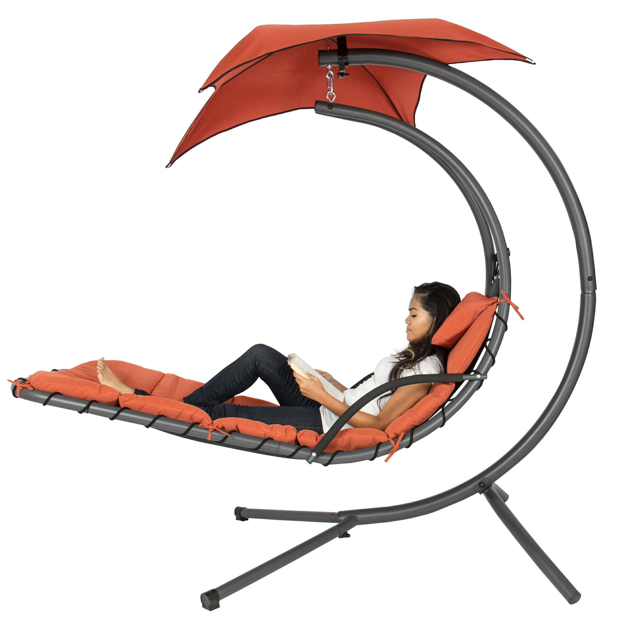 Pleasant Best Choice Products Hanging Curved Chaise Lounge Chair Swing For Backyard Patio W Pillow Canopy Stand Orange Camellatalisay Diy Chair Ideas Camellatalisaycom