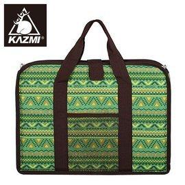 【【蘋果戶外】】KAZMI K4T3B001 經典民族風折疊桌收納袋(單口爐收納袋) 綠色 折疊桌收納袋/雙口爐收納袋/收納盒/保護提袋/防塵提袋