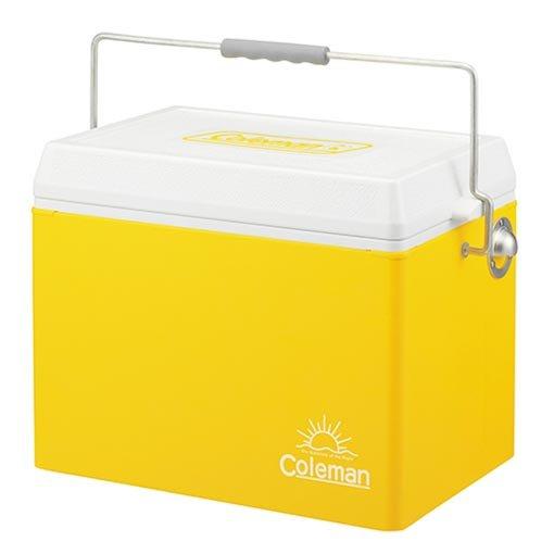 【露營趣】中和安坑 送手電筒 Coleman CM-7113J 26.5L亮黃復古鋼甲冰箱 冰桶 行動冰箱 復古冰箱 復古冰桶