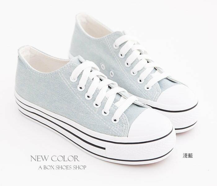 日韓系心機款高品質素面增高3.5CM厚底帆布鞋四色【KA2033】 1
