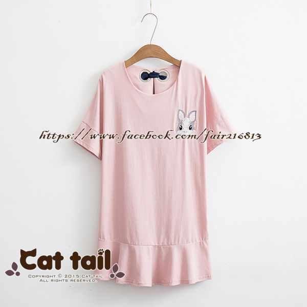《貓尾巴》TS-0664小清新可愛兔子刺繡短袖連身裙(森林系日系棉麻文青清新)