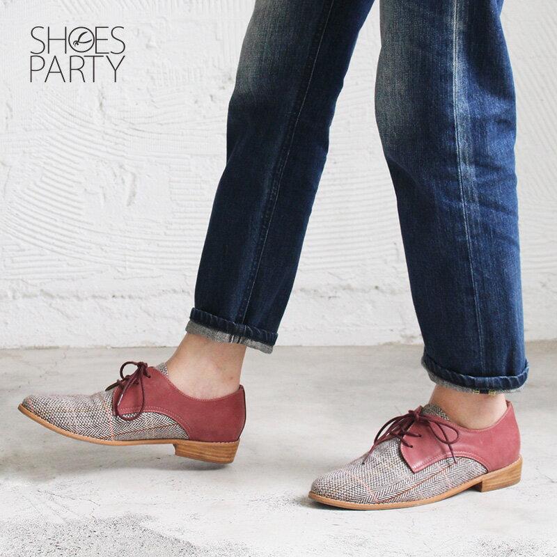 【C2-18715L 】經典真皮綁帶德比鞋_Shoes Party 3