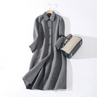 毛呢外套羊毛大衣-條紋翻領長款單排扣女外套73ty15【獨家進口】【米蘭精品】