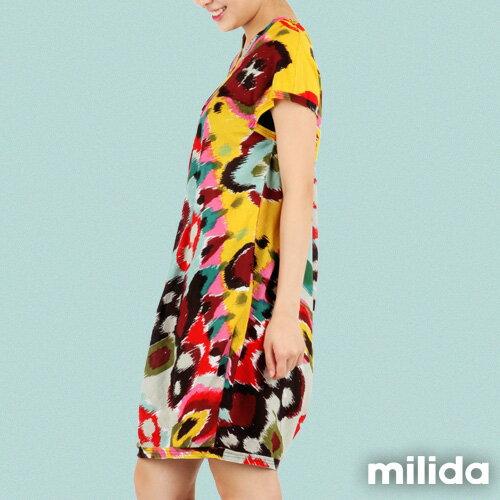【Milida,全店七折免運】-夏季商品-拼貼款-氣質花苞版型洋裝 6