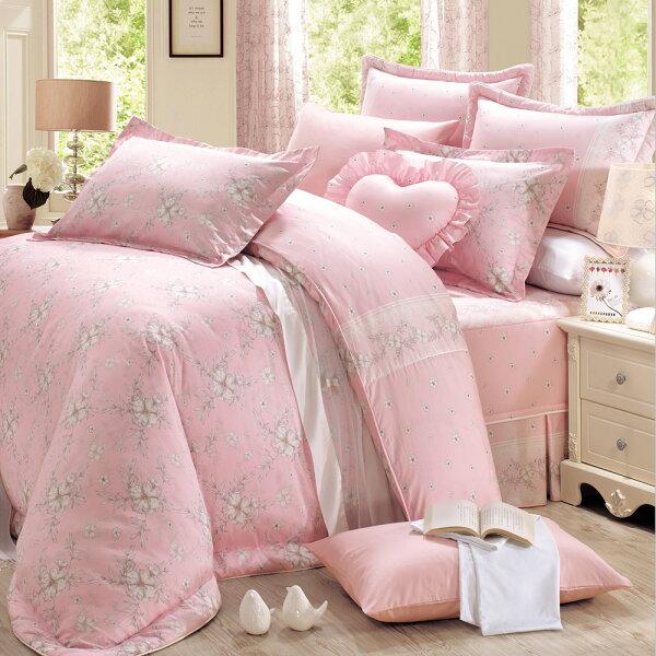 床罩組PIMA匹馬棉雙人400織七件式兩用被床罩組柔之花粉[鴻宇]台灣製2018