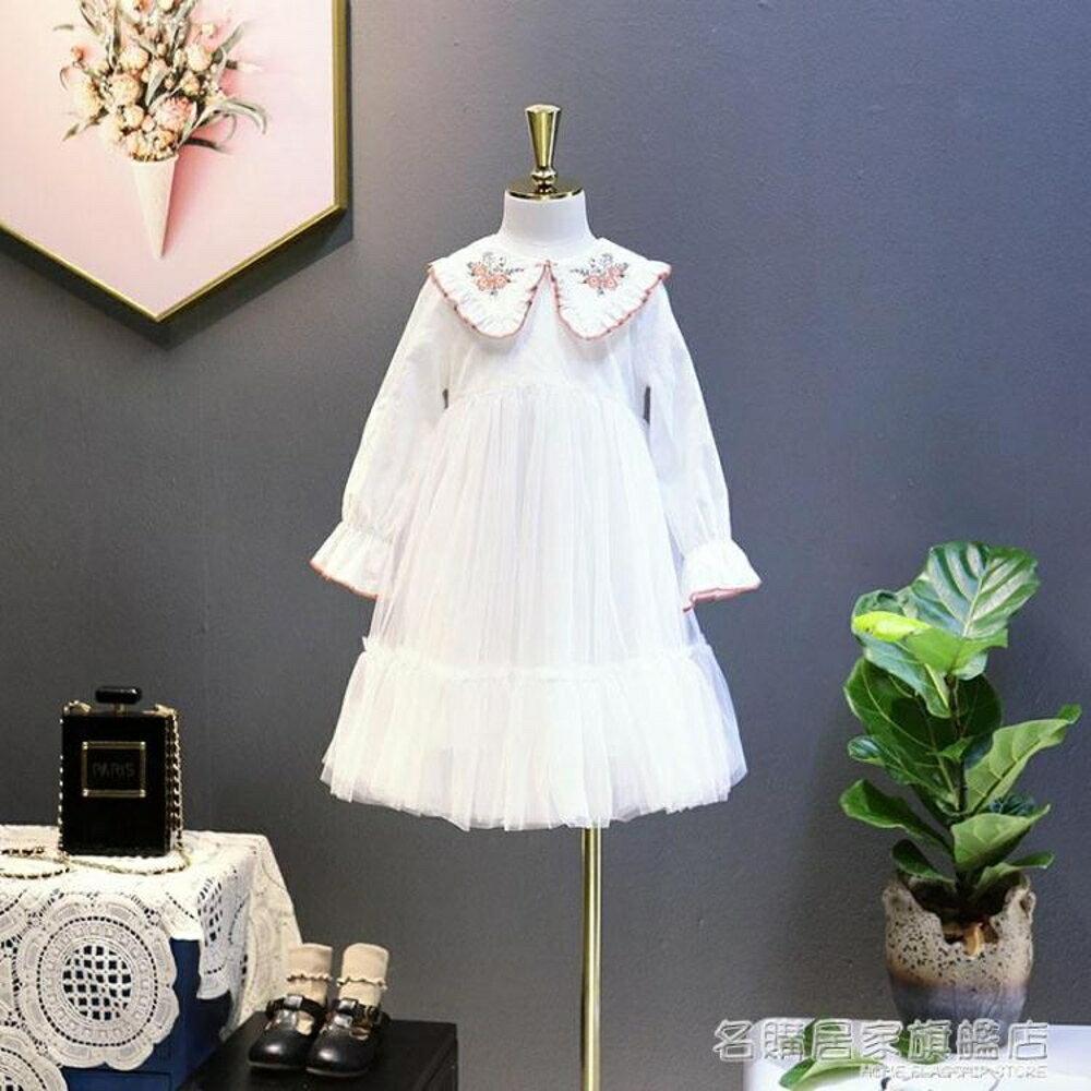 女童長袖連身裙童韓版中大童刺繡小女孩公主裙兒童裙子 『名購居家』 雙12購物節