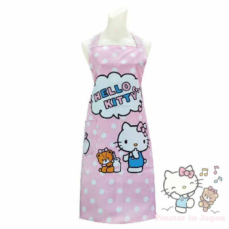 【真愛日本】17102400006 圍裙-KT點心小熊點點粉 三麗鷗 Hello Kitty 凱蒂貓 日用品 圍裙 布製品