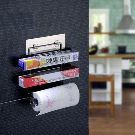 無痕貼系列 保鮮膜收納架 置物架 收納架 整理架 廚房 居家 不鏽鋼 壁掛式 無痕 懸掛
