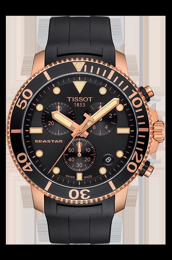 TISSOT 天梭 T1204173705100 Seastar1000海洋之星300米潛水三眼計時錶 黑 金 45mm 0