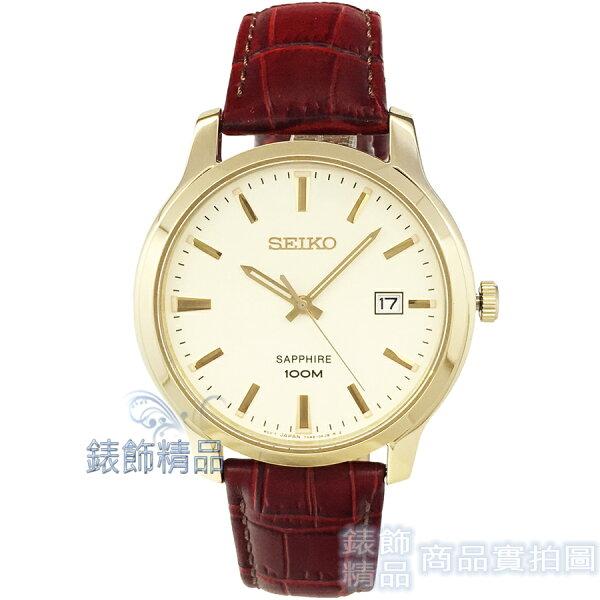 【錶飾精品】SEIKO手錶SGEH44P1精工表藍寶石鏡面IP金框咖啡紅皮帶男錶全新原廠正品