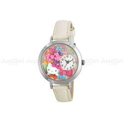 HELLO KITTY 手錶 指針式 緞帶蝴蝶結 立體雕花 皮質錶帶 配件 日本製造進口 限定販售 JustGirl