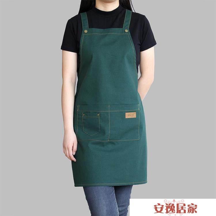 圍裙棉麻奶茶咖啡店烘焙美甲時尚男女工作服亞麻工作圍裙-安逸居家