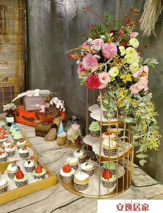 英式下午茶點心架 婚慶甜品臺水果托盤架茶歇冷餐展示架 糕點擺件 安逸居家