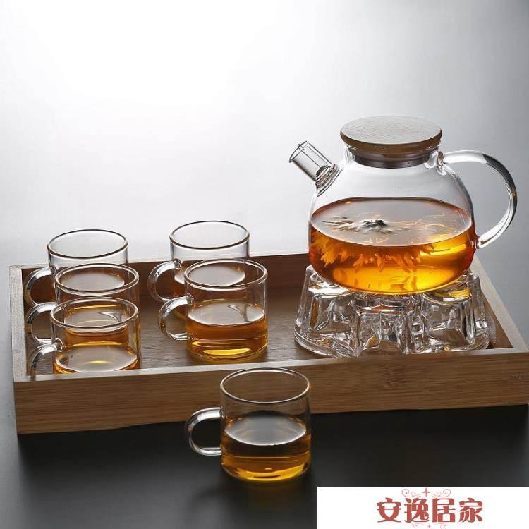 透明玻璃茶壺水果壺 可加熱煮茶壺大容量涼水壺白開杯家用 安逸居家  YTL