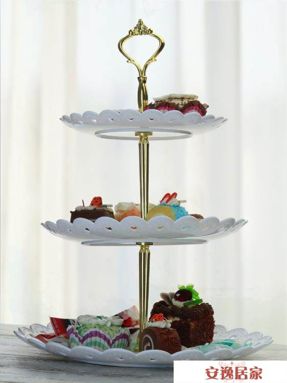 HYU下午茶點心架蛋糕歐式家用塑料雙層水果盤三層甜品臺零食托盤   安逸居家