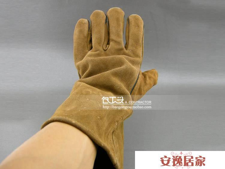 加長牛皮電焊手套 電焊焊工手套 防護勞保手套 耐磨工作手套 3