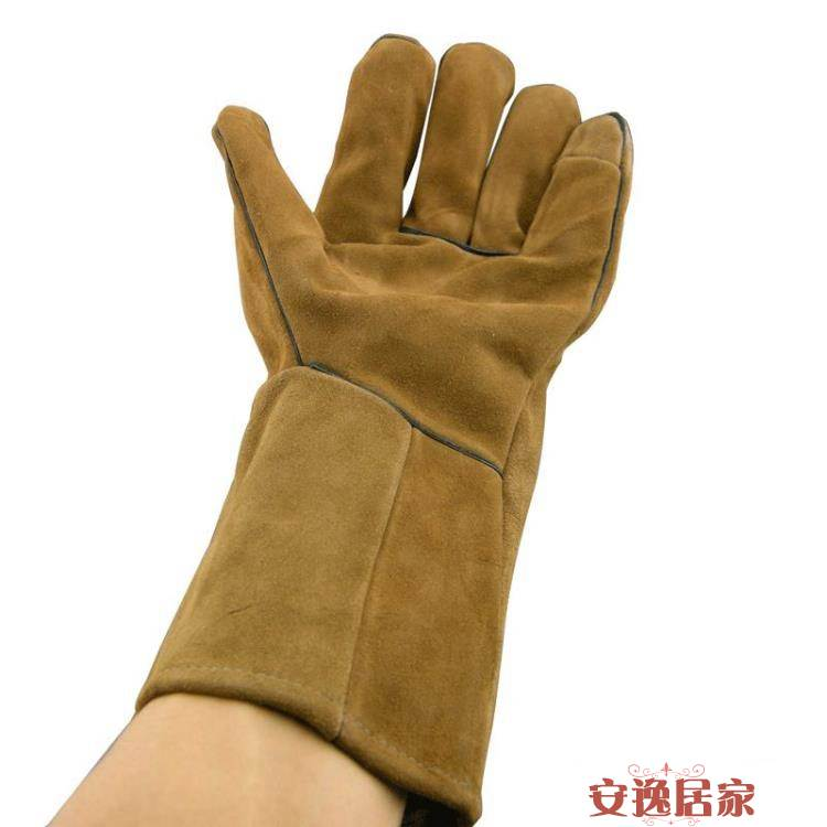 加長牛皮電焊手套 電焊焊工手套 防護勞保手套 耐磨工作手套 0