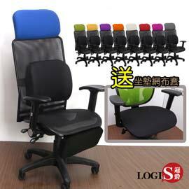 -LOGIS邏爵-變色龍大鋼背3D腰枕專利製腳台壓框墊全網電腦椅/辦公椅/主管椅/工學椅9色5191Z