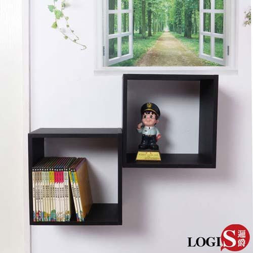 LOGIS-多彩魔術口格子壁櫃 壁架 展示櫃-正方形兩入組B34