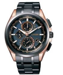 CITIZEN 星辰 鈦 光動能電波計時錶 鍍黑 玫瑰金 AT8044-64E 43mm