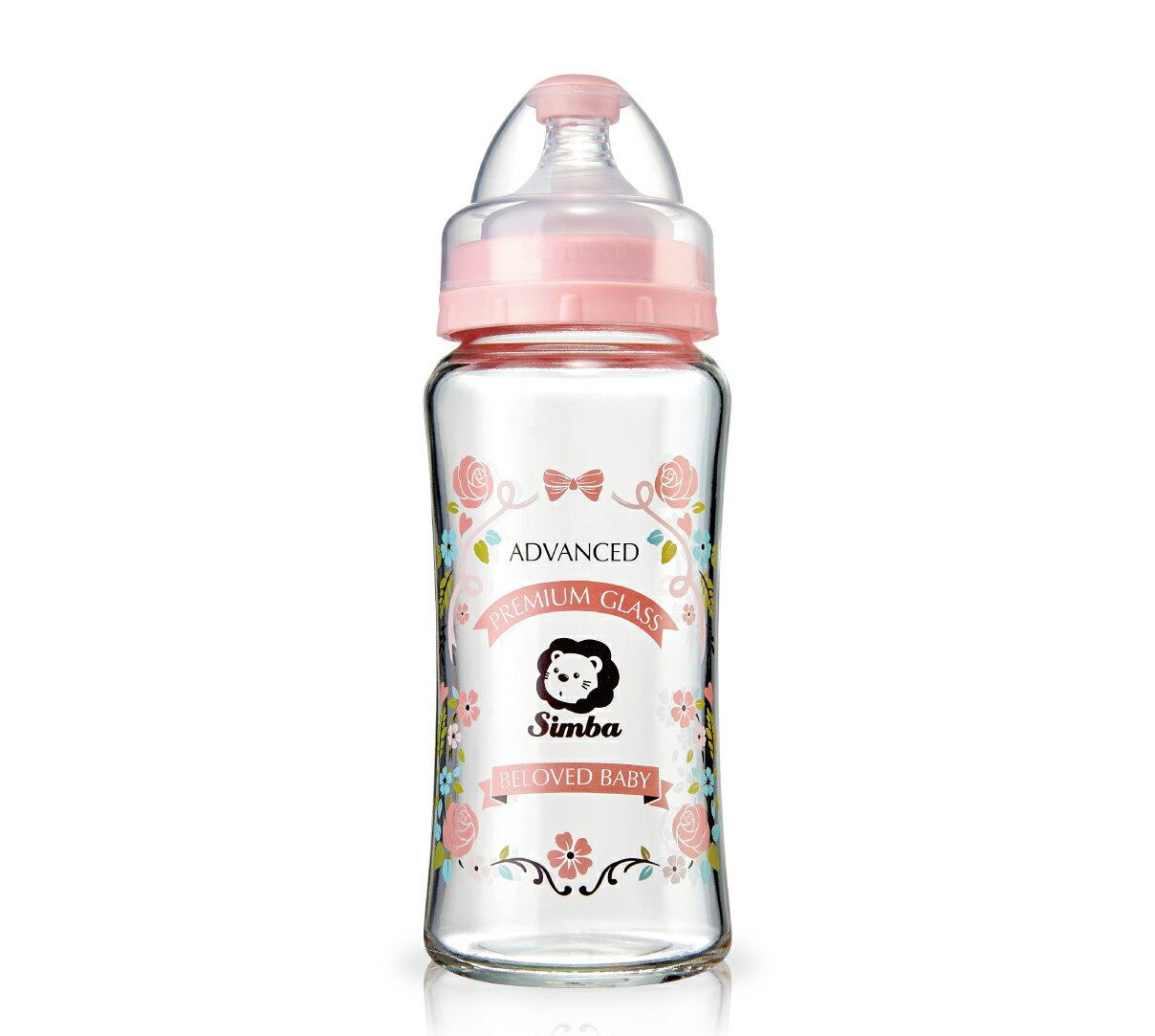 Simba小獅王辛巴 - 蘿蔓晶鑽寬口葫蘆玻璃大奶瓶 270ml 大馬士革玫瑰園(粉)