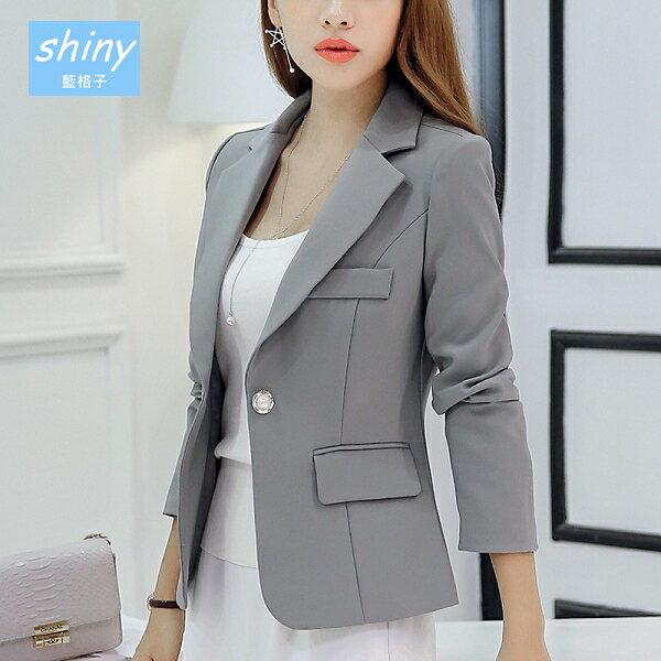 【V8222】shiny藍格子-輕熟質感.純色修身顯瘦長袖西裝外套
