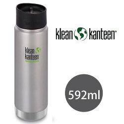 klean kanteen 20oz 寬口不鏽鋼保溫瓶/新型咖啡蓋『原色鋼』K20VWPCC-BS