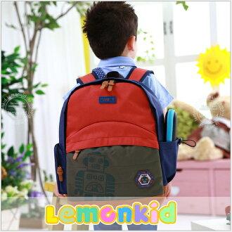 Lemonkid◆時尚帥氣機器人質感徽章LOGO兒童書包雙肩包休閒後背包-紅色