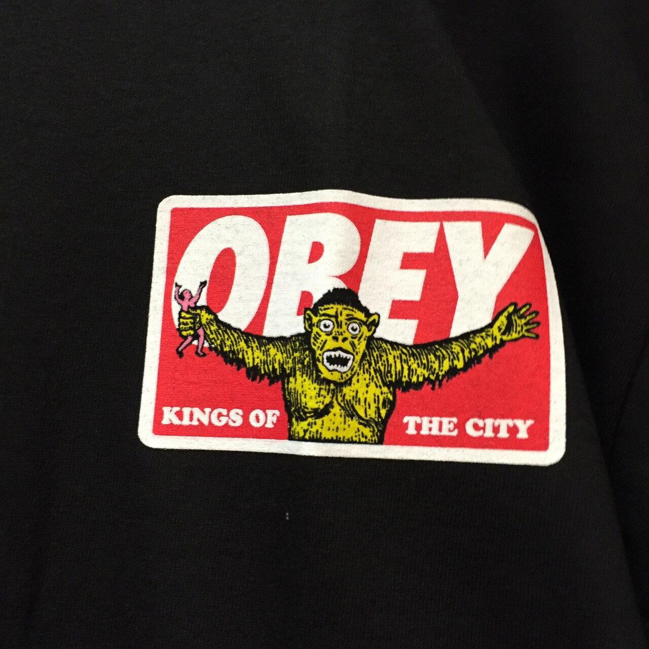 BEETLE PLUS 西門町經銷 全新 美國品牌 OBEY KINGS OF THE CITY 城市之王 全黑 紅字 LOGO 短T TEE 163081152BLK OB-414 1