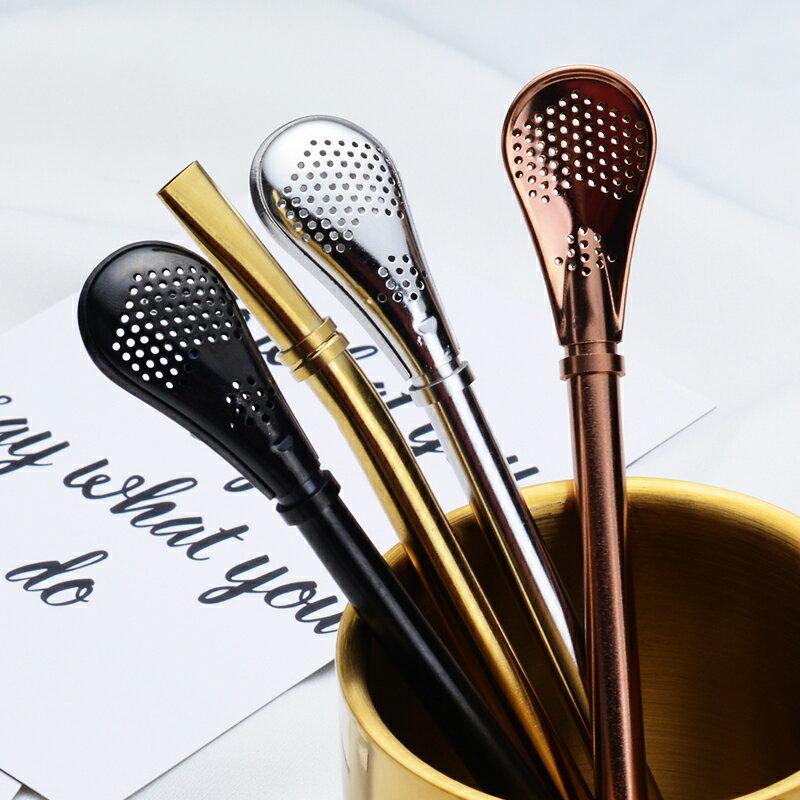 不鏽鋼吸管勺子 304不銹鋼吸管勺子兩用2支裝攪拌勺長柄創意可愛果汁花茶過濾【TZ23】
