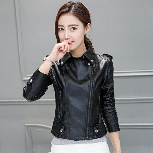 韓版修身PU短外套皮夾克 (黑色,S~3XL) 【OREAD】 - 限時優惠好康折扣