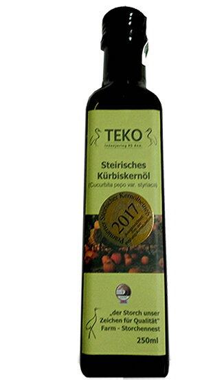 三罐特價3600元!!鸛巢 - TEKO施蒂亞特級南瓜籽油 250ml/罐X3  100%冷壓初榨南瓜籽油 南瓜籽油 油品 養身保健 《小瓢蟲生機坊》