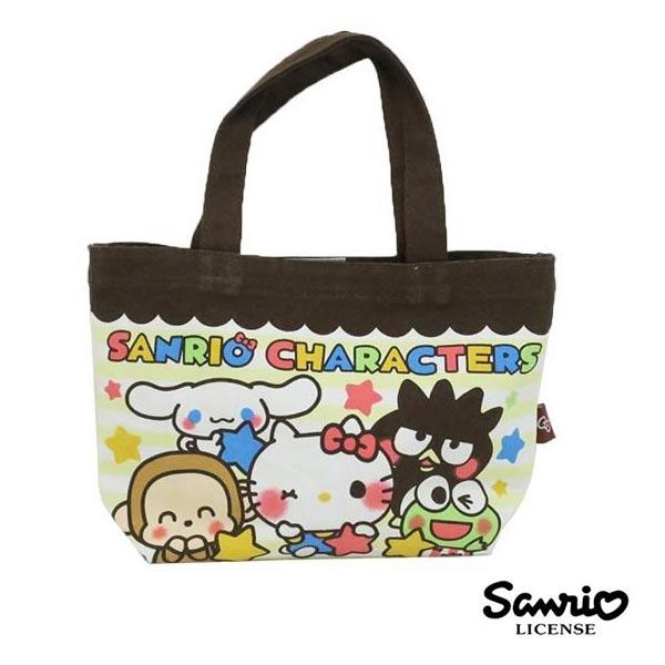 條紋款【日本進口】凱蒂貓 美樂蒂 布丁狗 三麗鷗人物 帆布 手提袋 便當袋 Sanrio - 434724